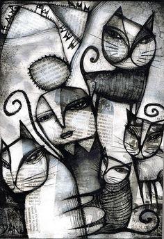 Dan casado коты: 1 тыс изображений найдено в Яндекс.Картинках Cat Drawing, Painting & Drawing, Illustrations, Illustration Art, Outsider Art, Crazy Cats, Cat Art, Art Forms, Art Images
