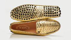 #Tod's #moccasins #gold #shoes #men's shoes