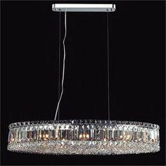Pendente Oval Mesi em Cristal Asfour e Base em Metal Cromado 60x30x13cm - Mantra Iluminação