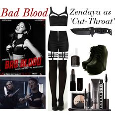 Bad Blood - Zendaya as 'Cut-Throat' by ele3anor on Polyvore featuring Boohoo, LORAC, Essie and Chicas Fashion