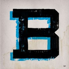 DISTRESSED DROP SHADOW LETTER B #type #typography