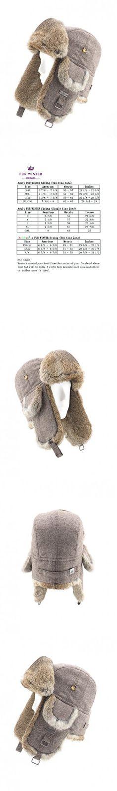 FUR WINTER Wool Blend Herringbone Rabbit Fur Aviator Bomber Trapper Hat BRN L/XL