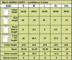 Men's Clothing Size Chart | Men's Clothing Size Chart