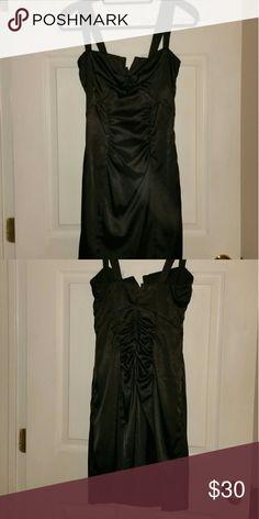 Le Chateau Black lined Dress Sexy Satin-Finish Dress w/rouched detail Le Chateau Dresses Mini