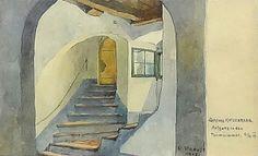 "Rudolf Preuss ""Schloss Katzenberg"" Aquarell 10,5 x 17 cm Berg, Painting, Watercolor, Cats, Painting Art, Paintings, Painted Canvas, Drawings"