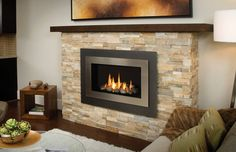 natural gas fireplace in family room Modern Fireplace Mantels, Stacked Stone Fireplaces, Fireplace Pictures, Custom Fireplace, Home Fireplace, Fireplace Remodel, Fireplace Surrounds, Fireplace Design, Fireplace Ideas