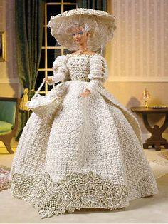 free crochet fashion doll wedding dress patterns