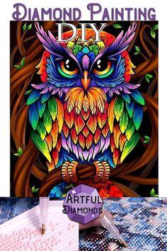 Wise Rainbow Owl Hippie Diamond Painting Kit makes stunning diamond art for home decoration! This DIY diamond painting kit has everything you need to create Owl Artwork, Owl Cartoon, Owl Pictures, Diamond Art, Diamond Drawing, Diamond Rings, 5d Diamond Painting, Arte Pop, Bird Art