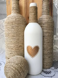 Gold heart hand painted bottle, cream colored with twine by TwinenWineCreations on Etsy