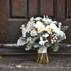 Gorgeous winter bridal bouquet with yellow and grey, one of the latest color trends