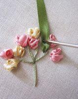 simple rose silk ribbon tut