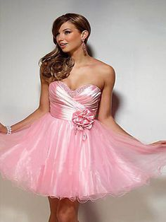Ball Gown Sweetheart Tulle Short/Mini Sleeveless Flower(s) Homecoming Dresses at pickedlooks.com