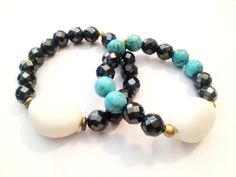 """FITROU Summer Turquoise and Hematite """"Arm Candy"""" Stacking Bracelets by Tanya Paradis. Http://www.shopfitrou.com"""