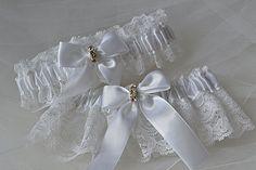 Wedding Garter Set  White Garters with Gorgeous by ElegantGarters, $30.00