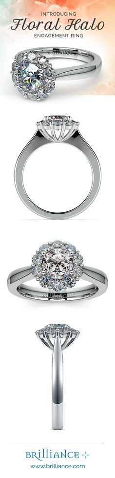 Ten round diamonds are prong set in this striking platinum engagement ring setting, accenting your choice of center diamond.
