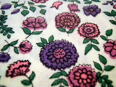 Vintage Fabric craft supplies sewing retroQuilting Cotton 1970s Seventies 70s Flower Power Calico Purple Pink Green Vintage Supplies Floral