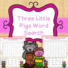 3 Little Pigs Word Search Activity Printables No PrepIncludes;Easy word search (2 pages)Hard word search (1 page)No prep, just print and hand to students! Great for early finishers, time fillers etc. all linked to 3 little pigs topic.This product is included in my 3 Little Pigs bundle found here
