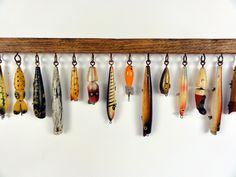Lure decor rack, perfect for Bruce. Vintage Fishing Lures, Bass Fishing Lures, Gone Fishing, Fishing Poles, Fishing Tackle, Fishing Pole Decor, Fishing Crafts, Fishing Stuff, Fishing Tips