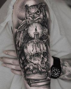 Owl Tattoo by Daniel Baczewski Owl Skull Tattoos, Owl Tattoo Drawings, Leg Tattoos, Body Art Tattoos, Sleeve Tattoos, Owl Neck Tattoo, Circle Tattoos, Tattoo Ink, Fish Tattoos