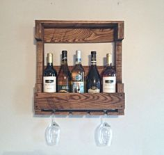 Rustic Wooden Wine Rack, Gifts For Him, Rustic Home Decor, Housewarming Gift…