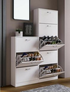 """VCM shoe cabinet with mirror """"Fulas"""", mirror door made of toughened safety glass online OTTO House Furniture Design, Home Room Design, Home Decor Furniture, Home Interior Design, Living Room Designs, Diy Home Decor, Room Decor, House Design, Wardrobe Door Designs"""