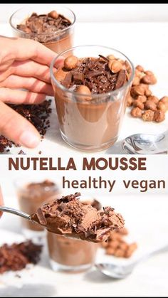 healthy recipes How to make an easy healthy chocolate mousse without avocados and instead with coconut milk, cocoa and hazelnuts to give a Nutella flavour. This recipe is vegan, gluten-free, paleo, keto and sweetened with fruit. Vegan Treats, Vegan Foods, Healthy Vegan Cookies, Vegan Gluten Free Desserts, Delicious Desserts, Dessert Recipes, Yummy Food, Fruit Recipes, Burger Recipes