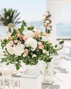 A gorgeous location in Santorini with all the perfect details! Wedding Ceremony, Our Wedding, Wedding Venues, Dream Wedding, Wedding Dreams, Santorini Wedding, Greece Wedding, Flower Decorations, Wedding Decorations