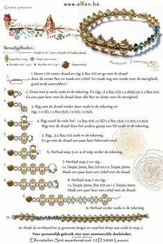 Elfenatelier: TASSANAH Bracelet - FREE Pattern. Use: SuperDuo beads, bicone beads 3mm, seed beads 15/0 and 11/0, needle nr. 12, 1 magnetic closure