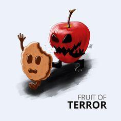 Omnomnomnom  #terror #horror #story #rainant #cookie #running #art #illustration #apple #fun #quote #procreate Ant Art, Running Art, Caramel Apples, Ants, Pumpkin Carving, Horror, Cookie, Rain, Quote