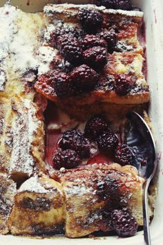 Baked Baguette French Toast with Blackberry Sauce ~ Notions & Notations of a Novice Cook