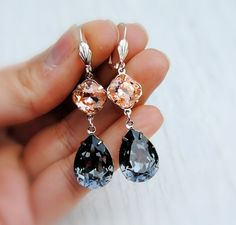 Gray Peach Earrings Swarovski Crystal Dangle by MASHUGANA on Etsy
