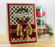 Christmas Card Making Ideas by Becca Feeken using Waltzingmouse Compliments of the Season and Spellbinders