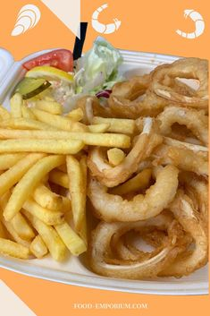 Fish fastfood come always with fries and salad. This fish platter is with crispy fried octopus rings. #fishfastfood #friesandsalad #crispyfriedoctopusrings food-emporium.com