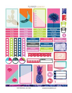 Free Printable Planner Stickers - Tropical Pop Art - Happy Planner