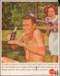 COCA COLA Ad from  SATURDAY EVENING POST 06/04/1960 - Be really refreshed, cool off with COKE