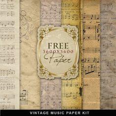 vintage paper, music paper, digital papers, craft, scrapbook paper