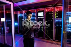 IT Engineer in Action Configuring Servers Royalty Free Stock Photo