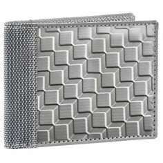 3D Box Texture Bill Fold Crossing Wallet by Stewart Stand. Stainless steel lightweight wallet with RFID blocking to prevent ID theft.  Stylish, elegant, and vegan friendly! Great gift for him for all occasions.