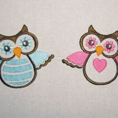 Blue Pink Owls Machine Embroidery Designs Set