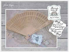 Custom tags on each guests fan featured lyrics from the song the couple walked down the aisle to.  Designed by Alchemy Fine Events.  www.alchemyfineevents.com