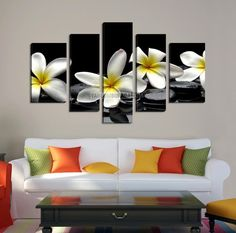 LARGE CANVAS Wall Art - White Flower Black Zen Stones Photo Canvas Art Printing - Framed Art Canvas