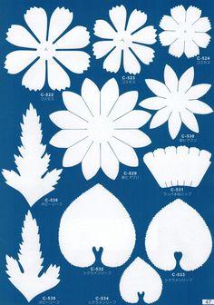 抜き弁の原寸大画像データー Dyi Flowers, Crepe Paper Flowers, Clay Flowers, Handmade Flowers, Fabric Flowers, Floral Backdrop, Paper Flower Backdrop, Leaf Template, Flower Template