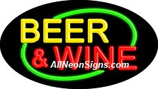 "Beer & Wine Flashing Neon Sign-ANSAR14132  Dimensions: 17""H x 30""L x 3""D  Custom colors ship in 5-7 business days  110 volt flasher transformer  Cool, Quiet, and Energy Efficient  Hardware & chain are included  Comes standard with 6' power cord  Indoor use only  1 Year Warranty/electrical components  1 Year Warranty/standard transformers."