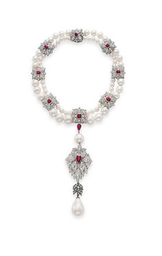 Another stunner from Elizabeth Taylor: This gorgeous pearl, ruby and diamond necklace, featuring the royal Spanish pearl La Peregrina.