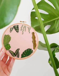 Tropical Leaves on Pink Hand Embroidered Hoop Art | Embroidery, Personalised Gift, Cactus, Wall Hanging, Indoor Plant, Wall Art, Monstera   https://www.etsy.com/uk/listing/588287140/tropical-leaves-on-pink-hand-embroidered