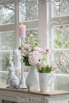 Deko - # Check more at derdekor., Deko - # Check more at derdekor. Spring Decoration, Casas Shabby Chic, Paris Decor, Window Sill, Belle Photo, Seasonal Decor, Diy And Crafts, Bedroom Decor, Table Decorations