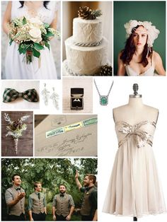 Winter wedding inspiration board #wedding #inspiration #winter #green #snow #details #decor #dress #cake