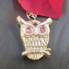 $60.00  1.3cm Owl with pink c.z eyes. Made by Julie Primmer Owl, Eyes, Pink, Owls, Cat Eyes, Rose