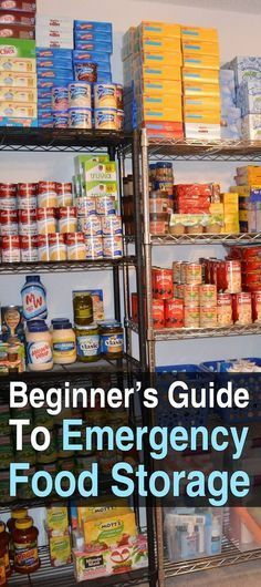 The Beginner's Guide To Emergency Food Storage. By the end of this guide, you will know the basics of food storage so you can start stockpiling the right foods in the right places to ensure your family has something to eat after a major disaster. Emergency Food Storage, Emergency Food Supply, Emergency Preparedness Kit, Emergency Preparation, Canned Food Storage, Food Storage Rooms, Hurricane Preparedness, Emergency Water, Family Emergency