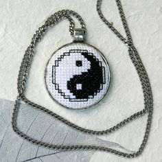 Ooak statement pendant necklace Yin Yang black by YANKAcreations